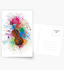 Violin with Bow Paint Splatter Illustration Postcards