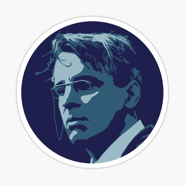 William Butler Yeats Blue Portrait Sticker