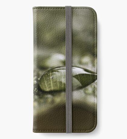 Regentropfen auf einem Blatt iPhone Flip-Case