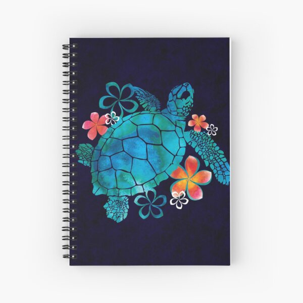 Sea Turtle with Flowers Spiral Notebook