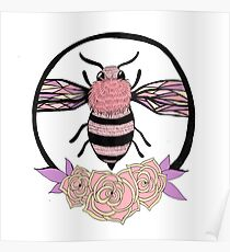 Pink Bumble Bee Poster
