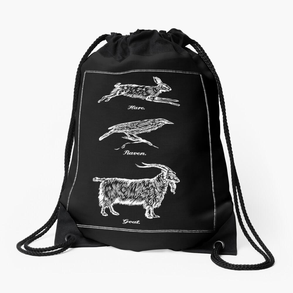 Hare, Raven, Goat Drawstring Bag