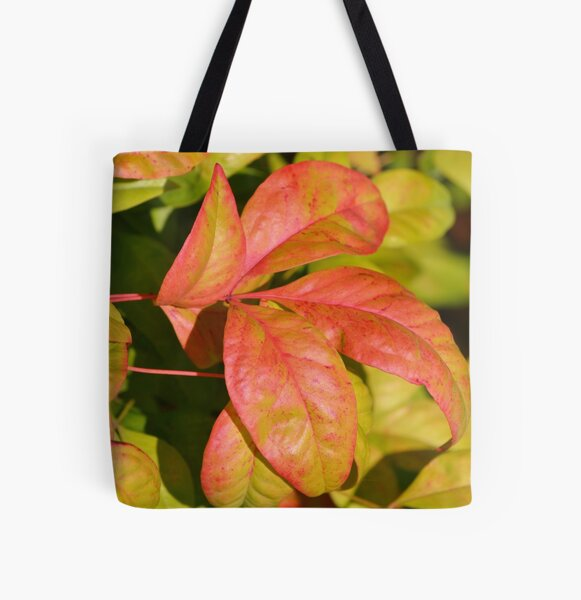 Tropical Pink Sunset Leaves  All Over Print Tote Bag