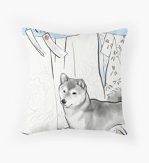 Shiba inu, Kimono and Summer breeze Throw Pillow