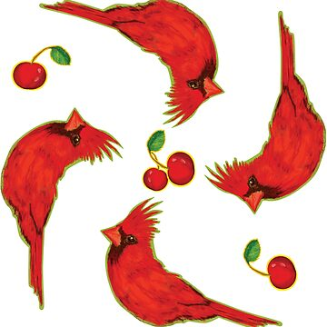 Very Red Bird with cherries - Illustration pattern by WitchDesign