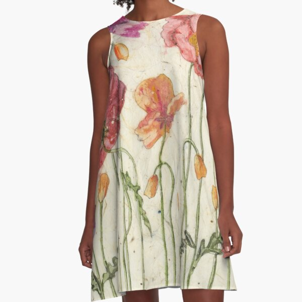 Poppies Everywhere A-Line Dress