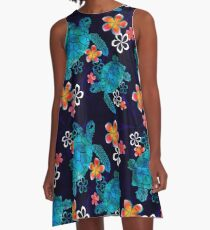 Sea Turtle with Flowers A-Line Dress