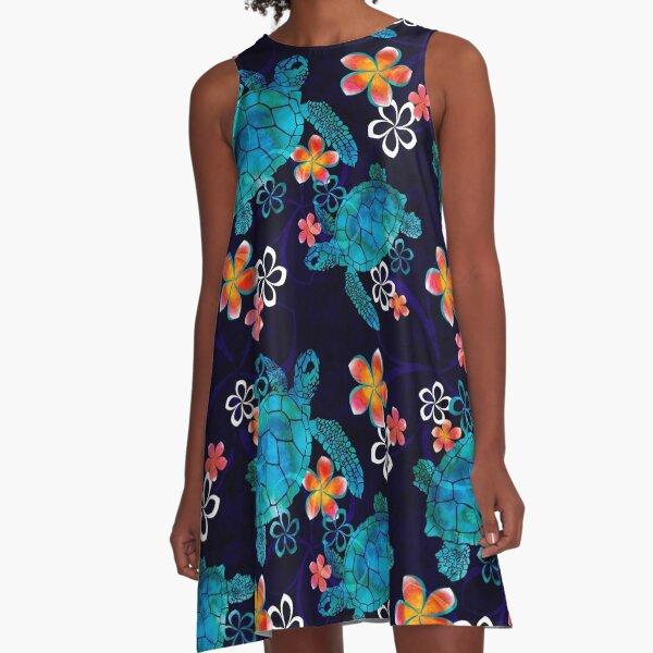 Sea Turtle with Flowers A-Line Dress