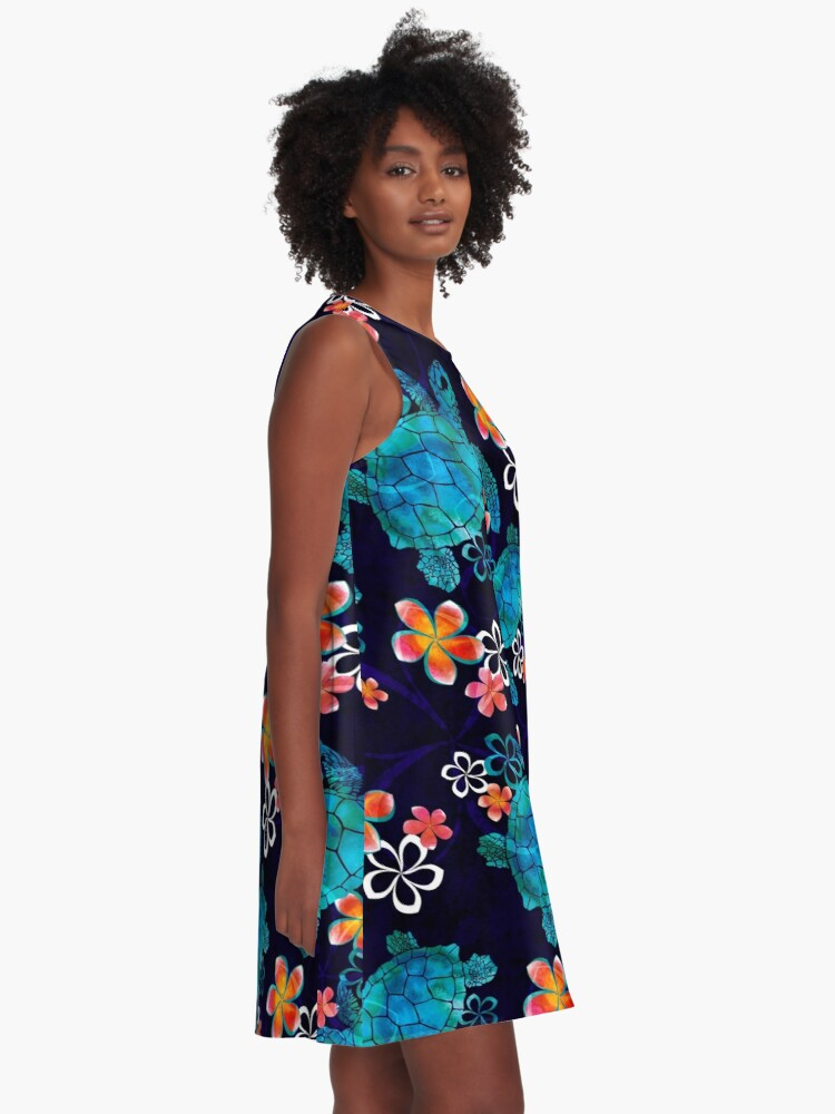 Alternate view of Sea Turtle with Flowers A-Line Dress