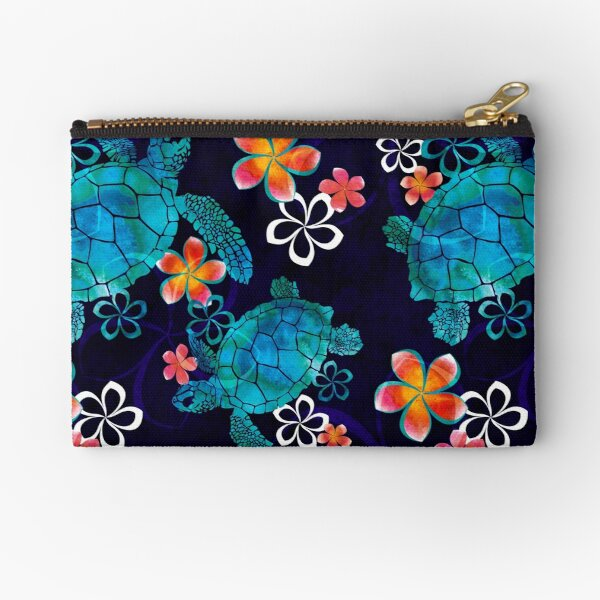 Sea Turtle with Flowers Zipper Pouch