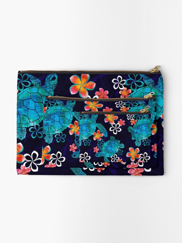 Alternate view of Sea Turtle with Flowers Zipper Pouch