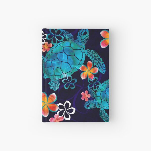 Sea Turtle with Flowers Hardcover Journal