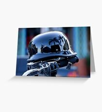 Motorcycle handlebar with reflective helmet Greeting Card