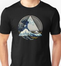 Hokusai - Great Wave Off Kanagawa Colorful Triangle Round Geometric Pattern Unisex T-Shirt