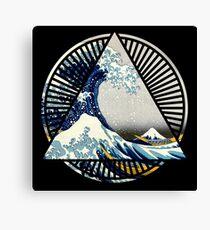 Hokusai - 36 Views Of Mount Fuji - Great Wave Off Kanagawa Geometric Triangle Shirt Canvas Print