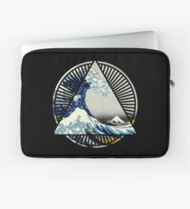 Vintage Hokusai Mount Fuji Große Tsunami Wave japanische geometrische Manga Shirt Laptoptasche