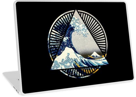 f15903c686f9 Vintage Hokusai Mount Fuji Great Tsunami Wave Japanese Geometric Manga Shirt  by dustofwings