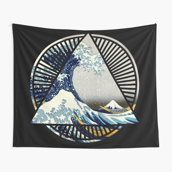 Vintage Hokusai Mount Fuji Great Tsunami Wave Japanese Geometric Manga Shirt Tapestry