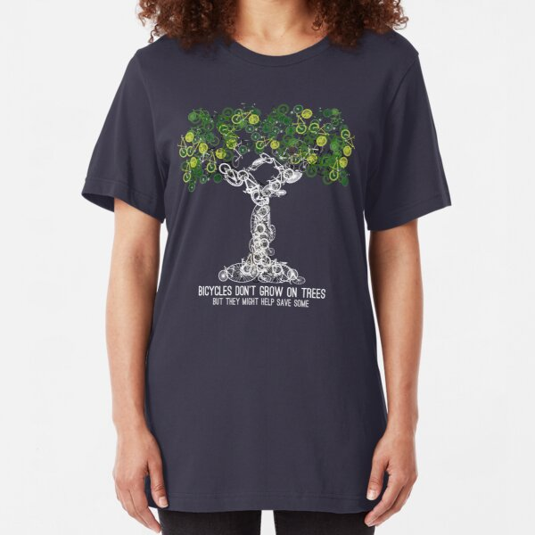 Bike Tree (white) Slim Fit T-Shirt