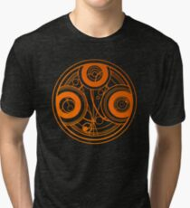 Orange Circular Gallifreyan - Doctor Who Tri-blend T-Shirt