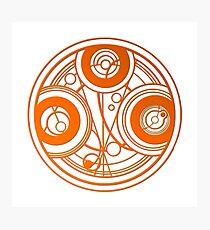 Orange Circular Gallifreyan - Doctor Who Photographic Print