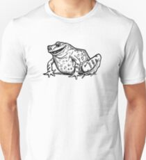 John Dickson Batten - Black and White Skeptical Toad Realistic Line Drawing Unisex T-Shirt
