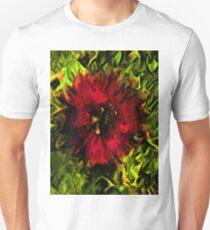 Red Flower and Green Leaves with Black Lines Unisex T-Shirt