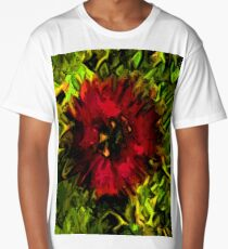 Red Flower and Green Leaves with Black Lines Long T-Shirt