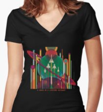 NASA JPL Space Tourism: A Once in a Lifetime Getaway Women's Fitted V-Neck T-Shirt