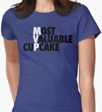 Most Valuable Cupcake (Staggered White/Black) Womens Fitted T-Shirt