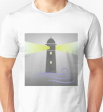 colorful illustration with lighthouse on grey  background T-Shirt