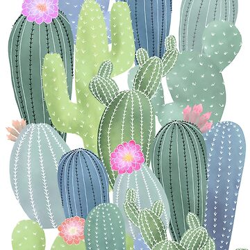 Cacti Love / Watercolor Cactus Pattern by MartaOlgaKlara