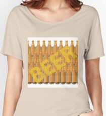colorful illustration with beer bottles on a white  background Women's Relaxed Fit T-Shirt