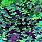 Foliage Abstract Pop Art In Jade Green and Purple by taiche