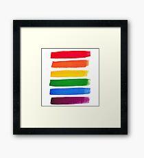 Vector rainbow watercolor brush strokes Framed Print