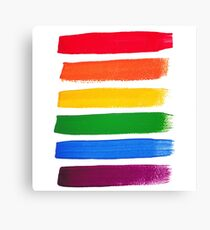 Vector rainbow watercolor brush strokes Canvas Print