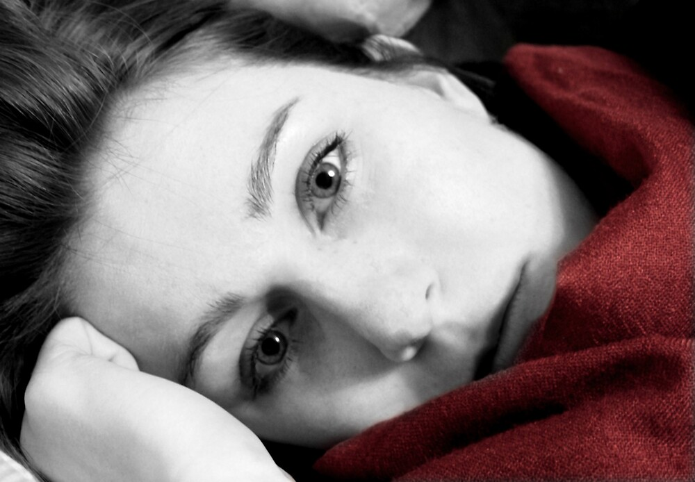 Girl in a red scarf by Mattphotos