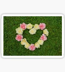 Heart: Roses & Carnations Sticker