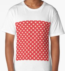 Seamless pattern with pink hearts Long T-Shirt