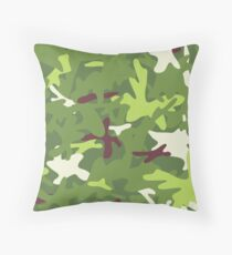 Camouflage military background. Seamless pattern. Throw Pillow
