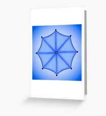 colorful illustration with blue umbrella  on a white background Greeting Card