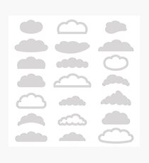illustration with  set of clouds icons on a white background Photographic Print