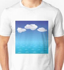colorful illustration with sea blue wave background Unisex T-Shirt