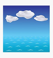 colorful illustration with sea blue wave background Photographic Print