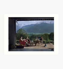 Members of Easy Company (Band of Brothers) including Maj. Dick Winters relaxing at the Eagle's Nest, Hitler's residence, 1945 Art Print
