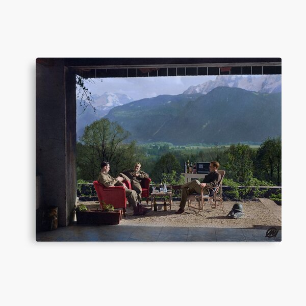 Members of Easy Company (Band of Brothers) including Maj. Dick Winters relaxing at the Eagle's Nest, Hitler's residence, 1945 Canvas Print