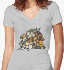 Sleeping pile of Malinois dogs Women's Fitted V-Neck T-Shirt