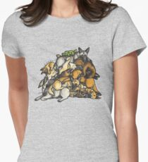 Sleeping pile of Malinois dogs Womens Fitted T-Shirt