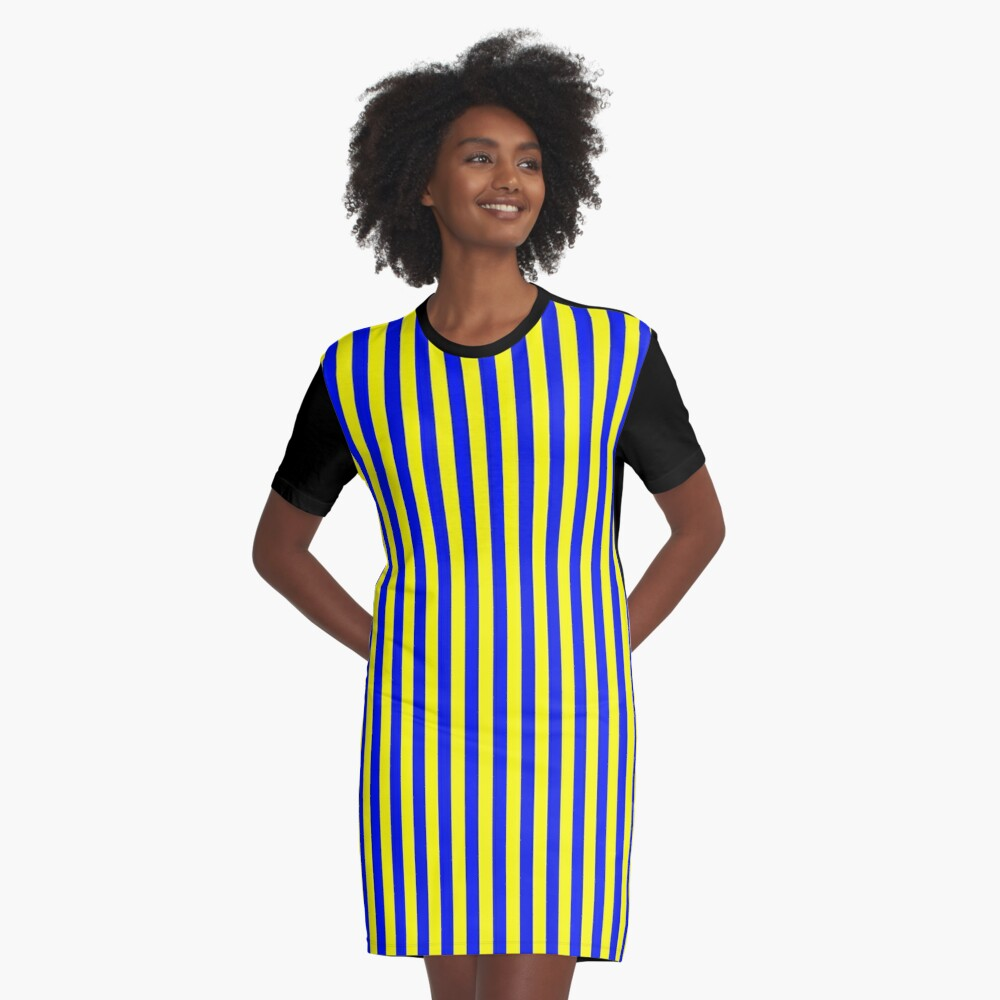Blue and Yellow Striped Slimming Swedish Dress Graphic T-Shirt Dress Front