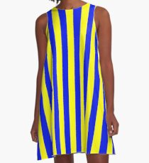 Blue and Yellow Striped Slimming Swedish Dress A-Line Dress